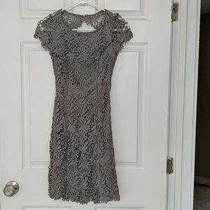 Grey Lace Open Back dress